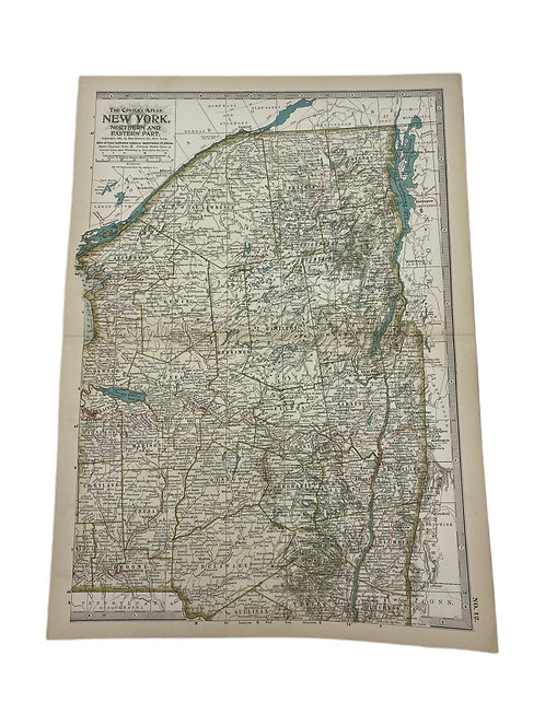 Antique Engraving Map of New York circa 1897