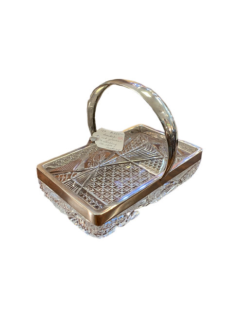Sterling Silver Basket with Cut Glass