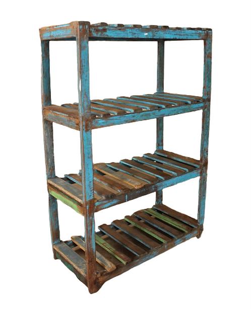 Wood Painted Open Slat Standing Shelf