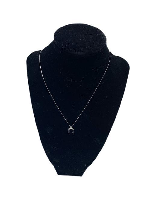 Bliss by Damiani 18k White Gold & Diamond Horse Shoe Necklace