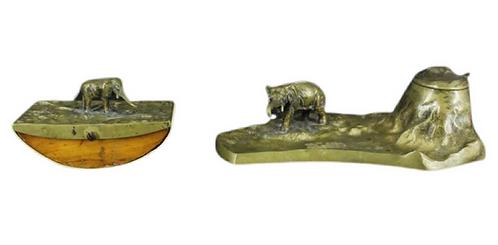 Two Piece Austrian Bronze Elephant Motif Desk Set