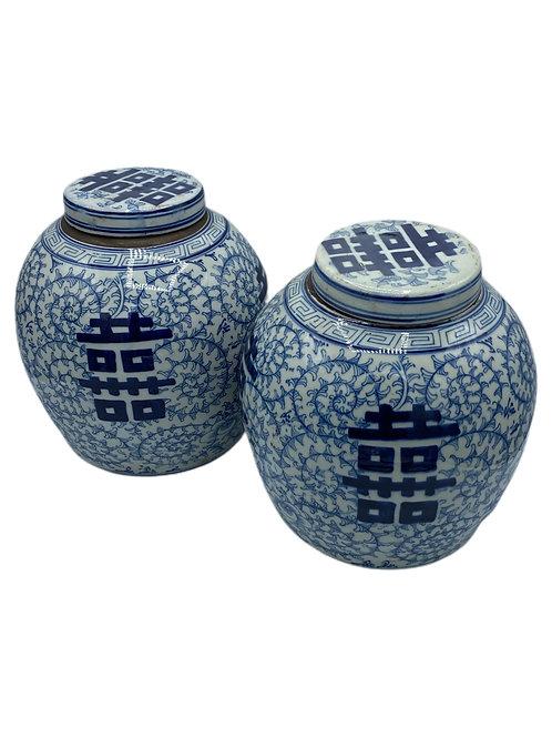 Pair Blue/White Ginger Jars