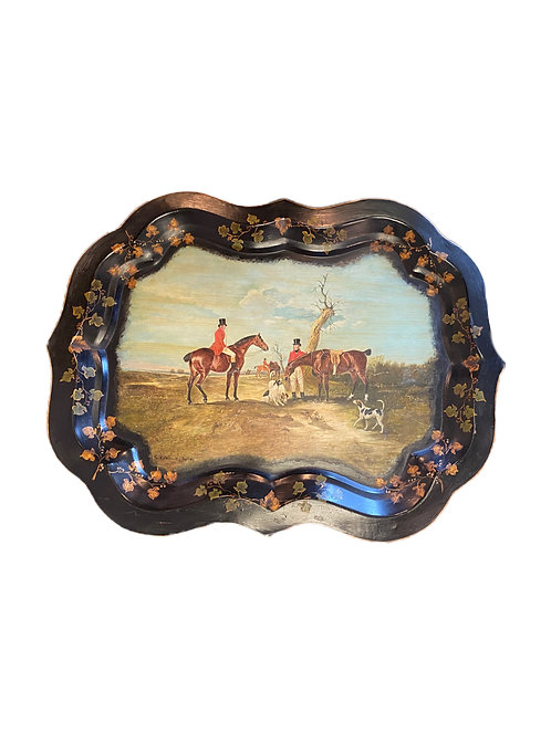 Foxhunting Scene on Tray Signed