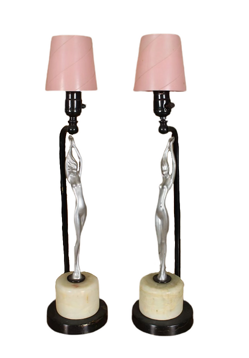 2 Figural Art Deco Style Table Lamps