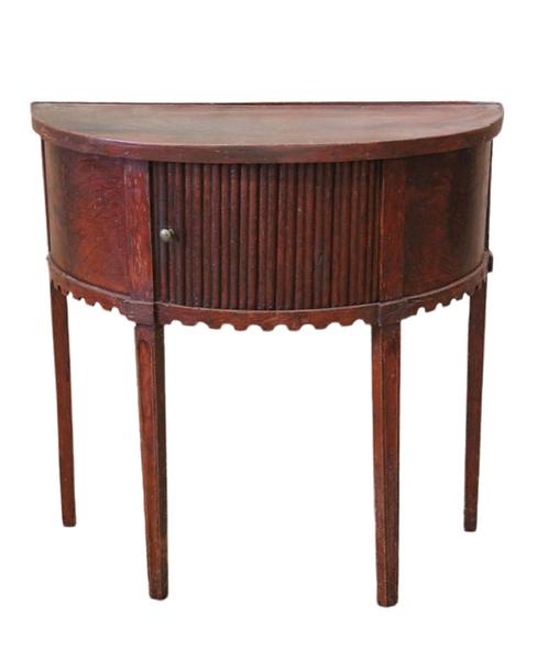 Continental Tambor Door Demilune Side Table