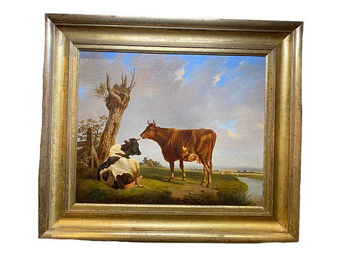 Painting of Cows in Pastoral Setting 18th century