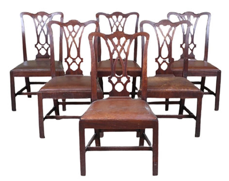 Set of 6 Antique Chippendale Style Dining Chairs