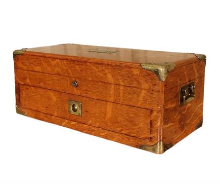19th C. Oak Flatware Case by C. Hulse & Son