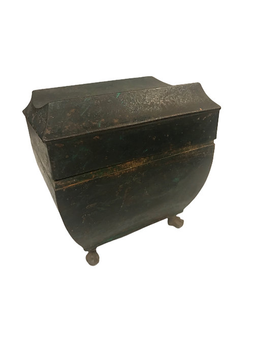 19th Century Folk Art Painted Small Chest with Feet