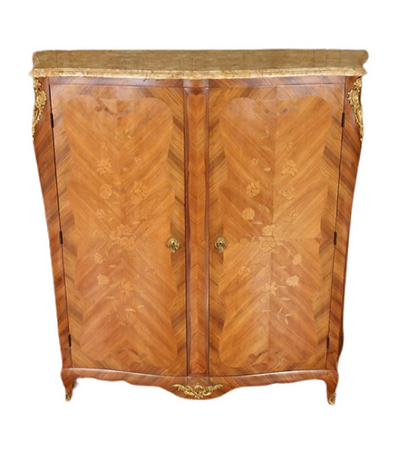 French Louis XV Style Inlaid Marble Top Cabinet