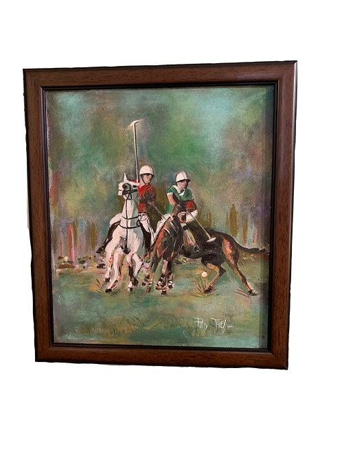 Polo Match on Oil Canvas