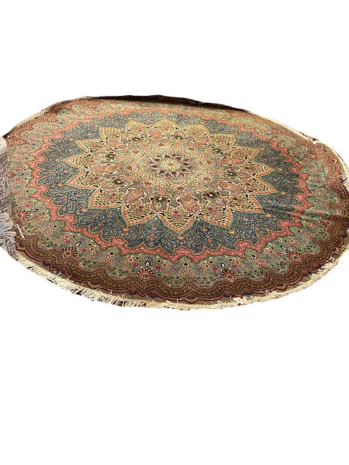 Fine Silk & Wool 10 ft Round Persian Tabriz
