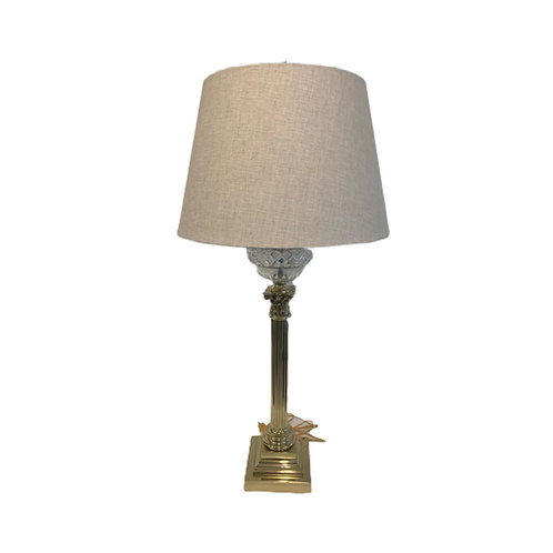 Pair of Brass Columnar Table Lamps