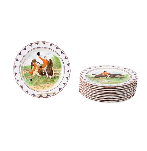 Set of 12 Wedgewood Equestrian Dishes