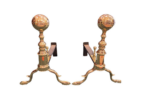 Brass Andirons - Davis Boston 18th century