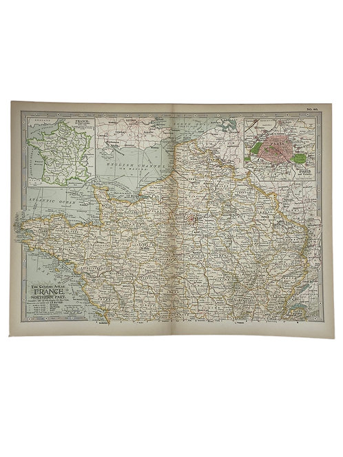 Antique Map of France circa 1897
