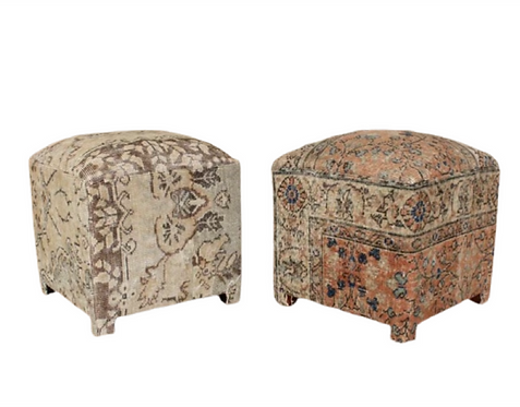 Pair of Carpet Antique Persian Rug Upholstered Stools