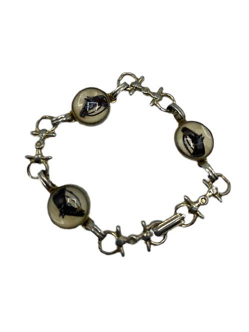 Childs Reverse Crystal Gold Tone Equestrian Bracelet