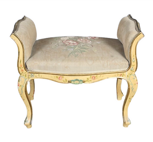 Louis XV style carved and painted Bench
