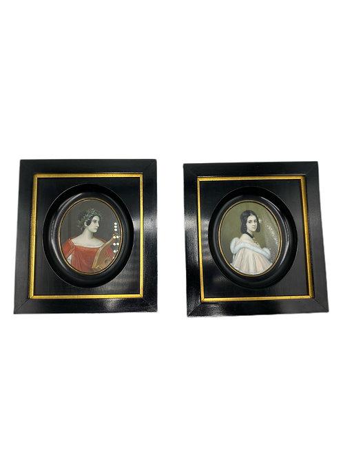 Karl Stieler (1781-1858) Miniature Pair of Portraits
