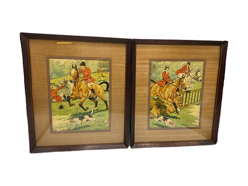 Pair of Watercolor, Pen & Ink Equestrian Scenes