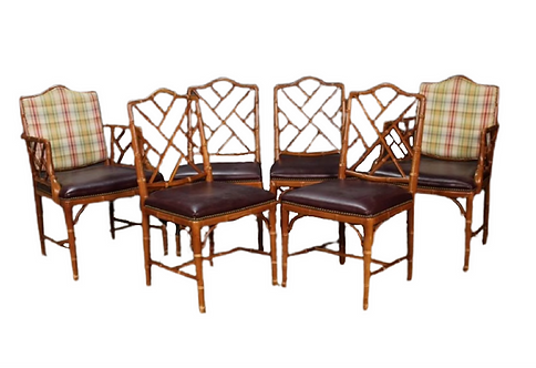 Set of 8 Faux Bamboo Chairs
