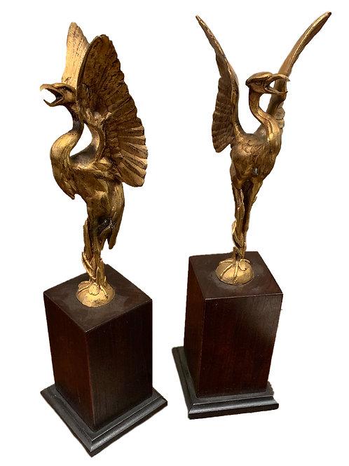 Pair of Gilt Metal Phoenix Birds