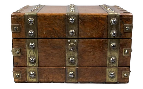 Victorian Oak and Brass Sewing Box
