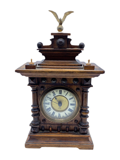 Antique Wooden Clock with Eagle Finial
