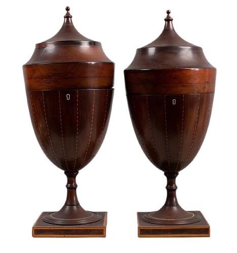Pair of George III Mahogany Knifeboxes