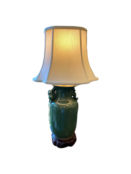 Dark Green Chinese Porcelain Table Lamp