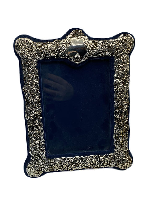 Sterling Silver Frame with Navy Blue Velvet