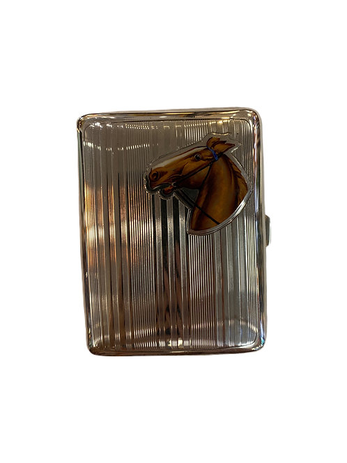Sterling Cigarette Case with Enamel Horse
