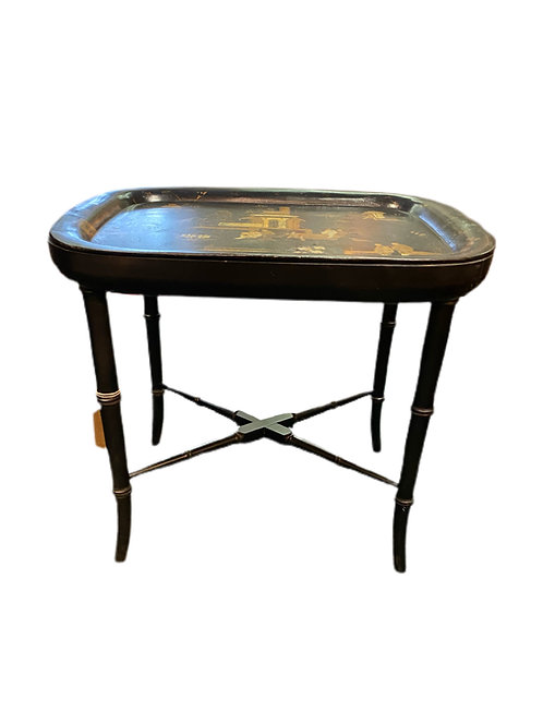 Antique Chinoiserie Decorated Tray on Later Stand