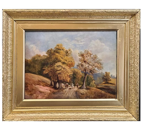 """Landscape Painting """"A Woman with Cows """" Signed"""