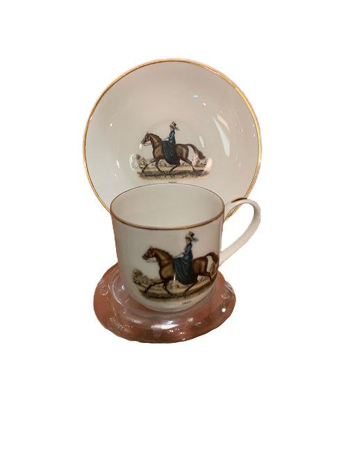 Side Saddle Porcelain Cup & Plate
