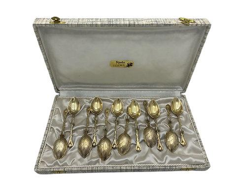 Cased set of 12 Sterling Silver Gold Washed Demitasse Spoons
