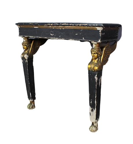 An Empire Style Gilt Wood Carved & Painted Console Table
