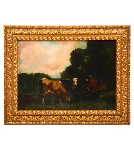 1902 Resting Cows Oil on Board Painting - Signed
