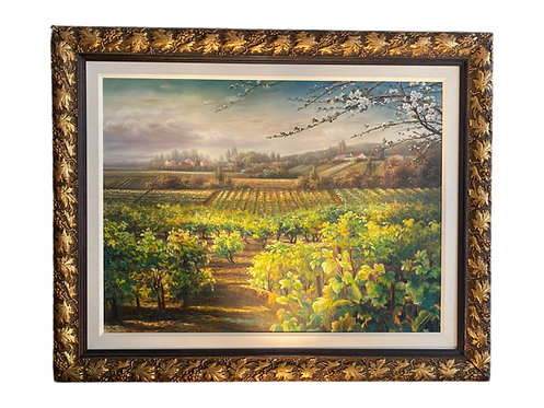Signed Oil on Canvas Vineyard