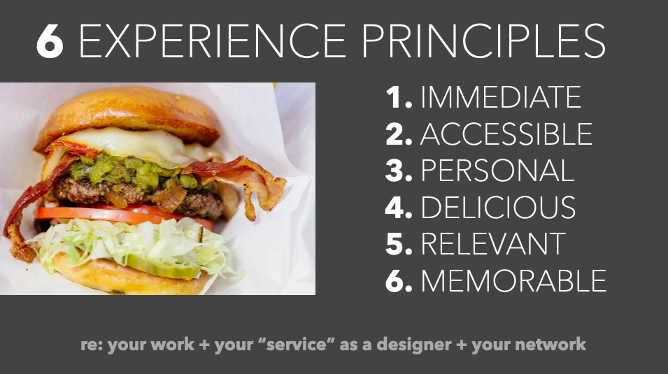 """From a presentation: """"Cheeseburger UX"""" - using the metaphor of a cheeseburger to illustrate 6 fundamentals of experience design."""
