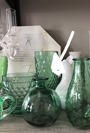 Bulb Green Glass bud vase