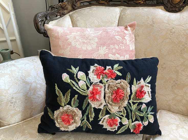 Coral and Black Embroidered Pillow - Callie