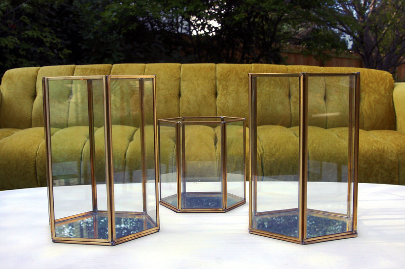Gold Geometric Containers