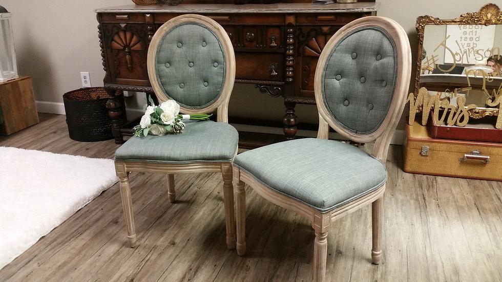Vintage Blue Oval Back Chair