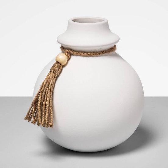 White clay Tasseled Pottery Vase
