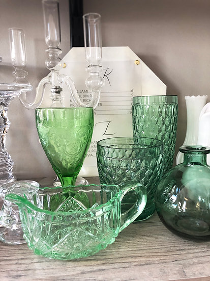 Assorted Green Glass Goblets