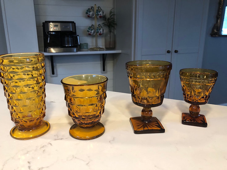 Amber colored goblets and vessels