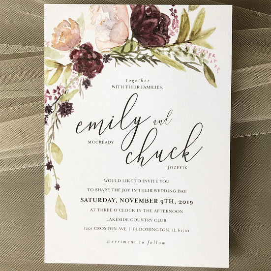 Custom invitation watercolor design
