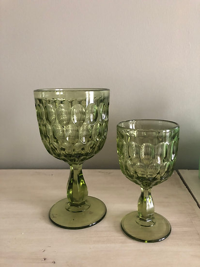 Green Glass Goblet/Compotes
